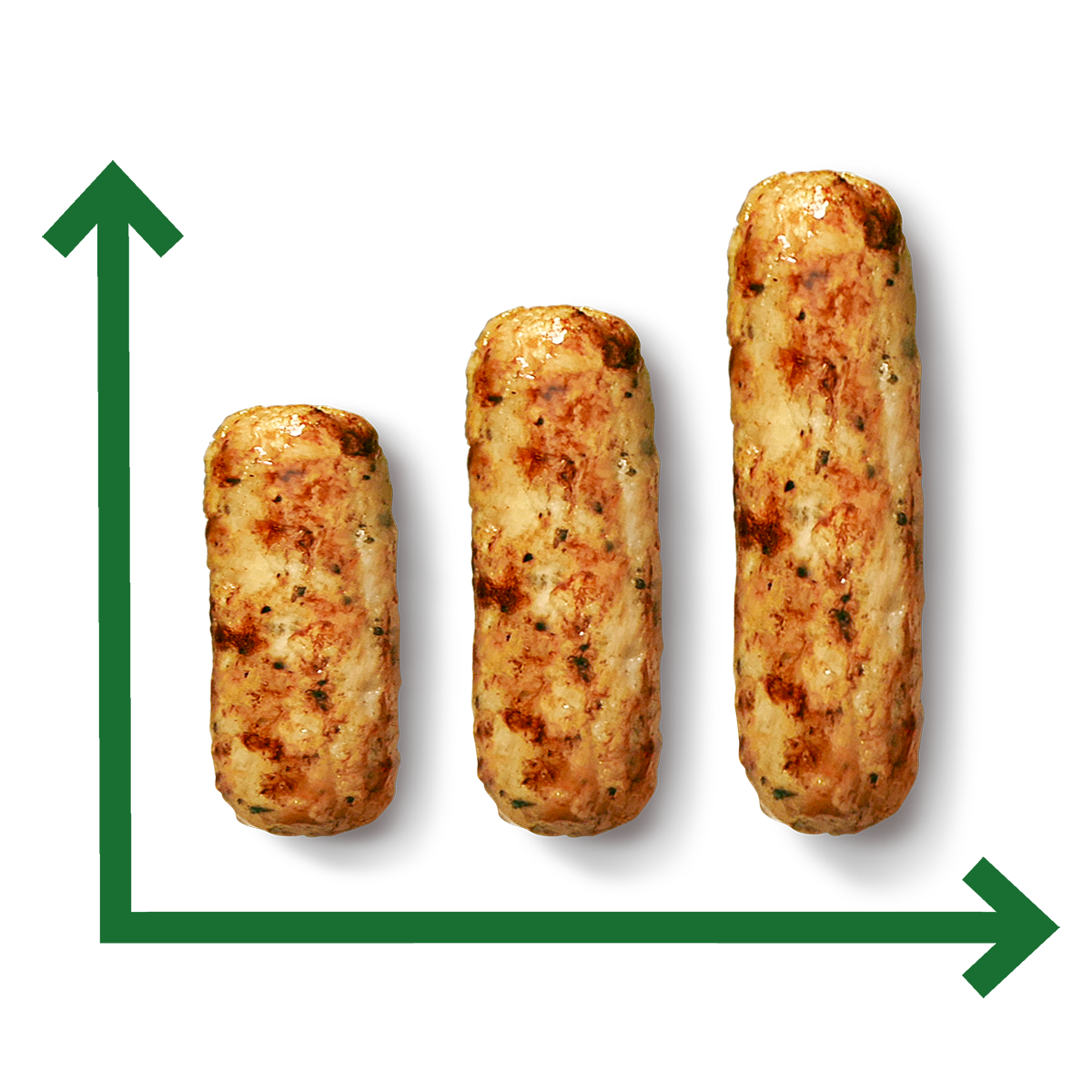 A line graph with sausages as lines.