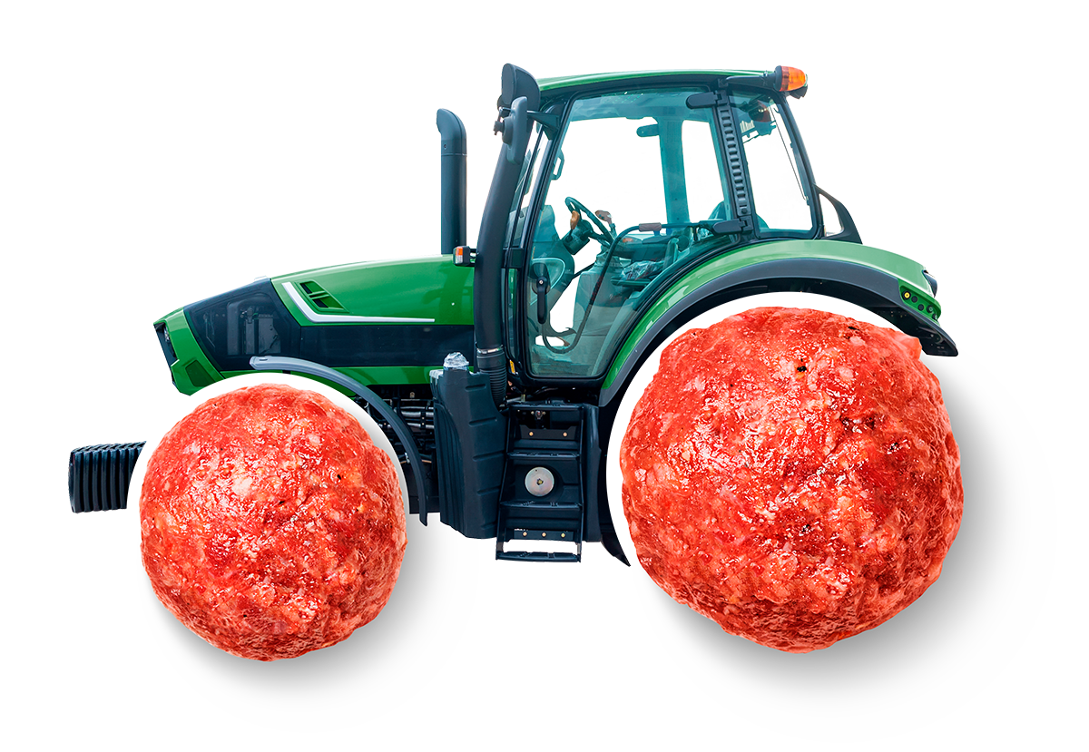 A tractor with meatballs for wheels.