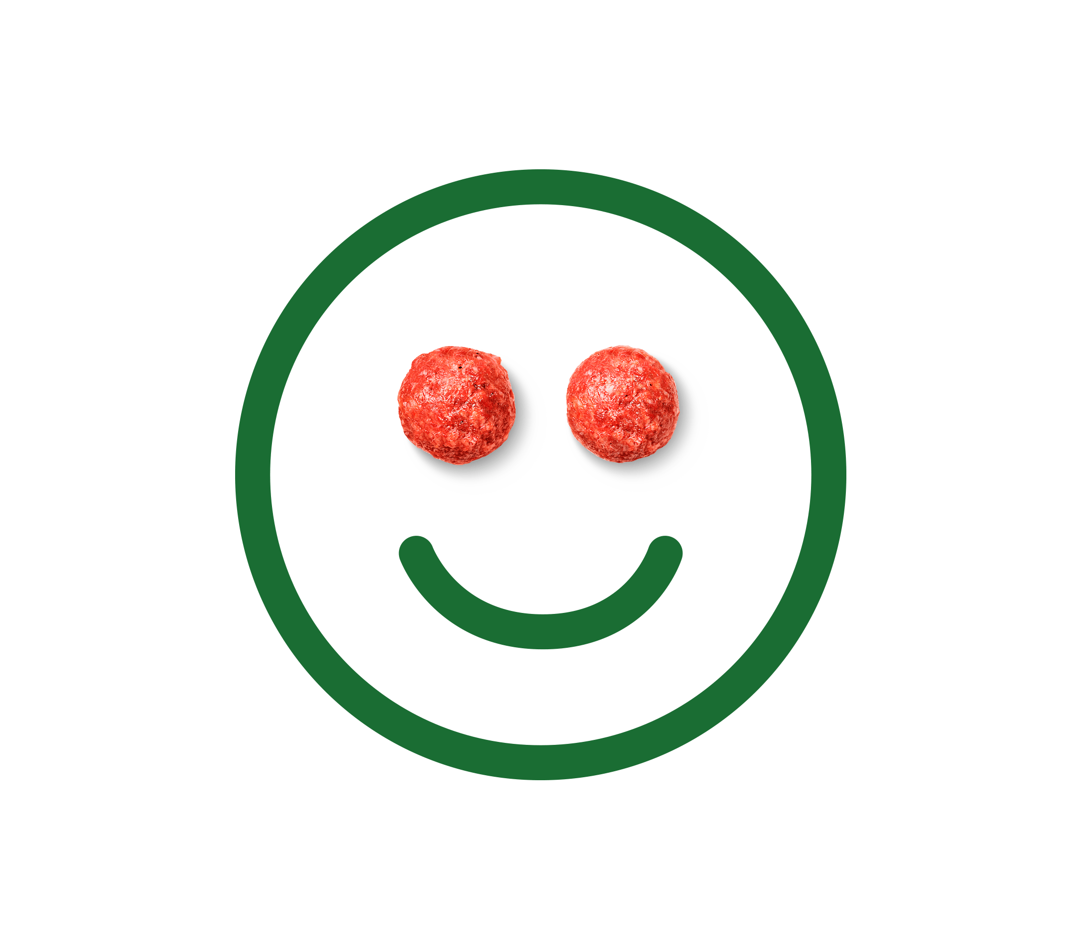 A smiley face with meatballs for eyes.